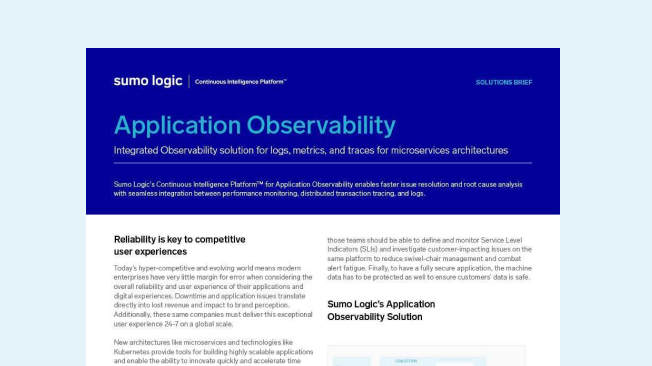 Application Observability solution brief