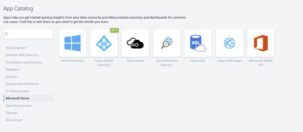 Sumo Logic Azure Apps Catalog