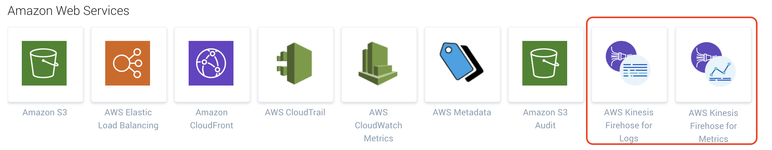 New AWS Kinesis Data Firehose integrations for streaming CloudWatch Logs and Metrics