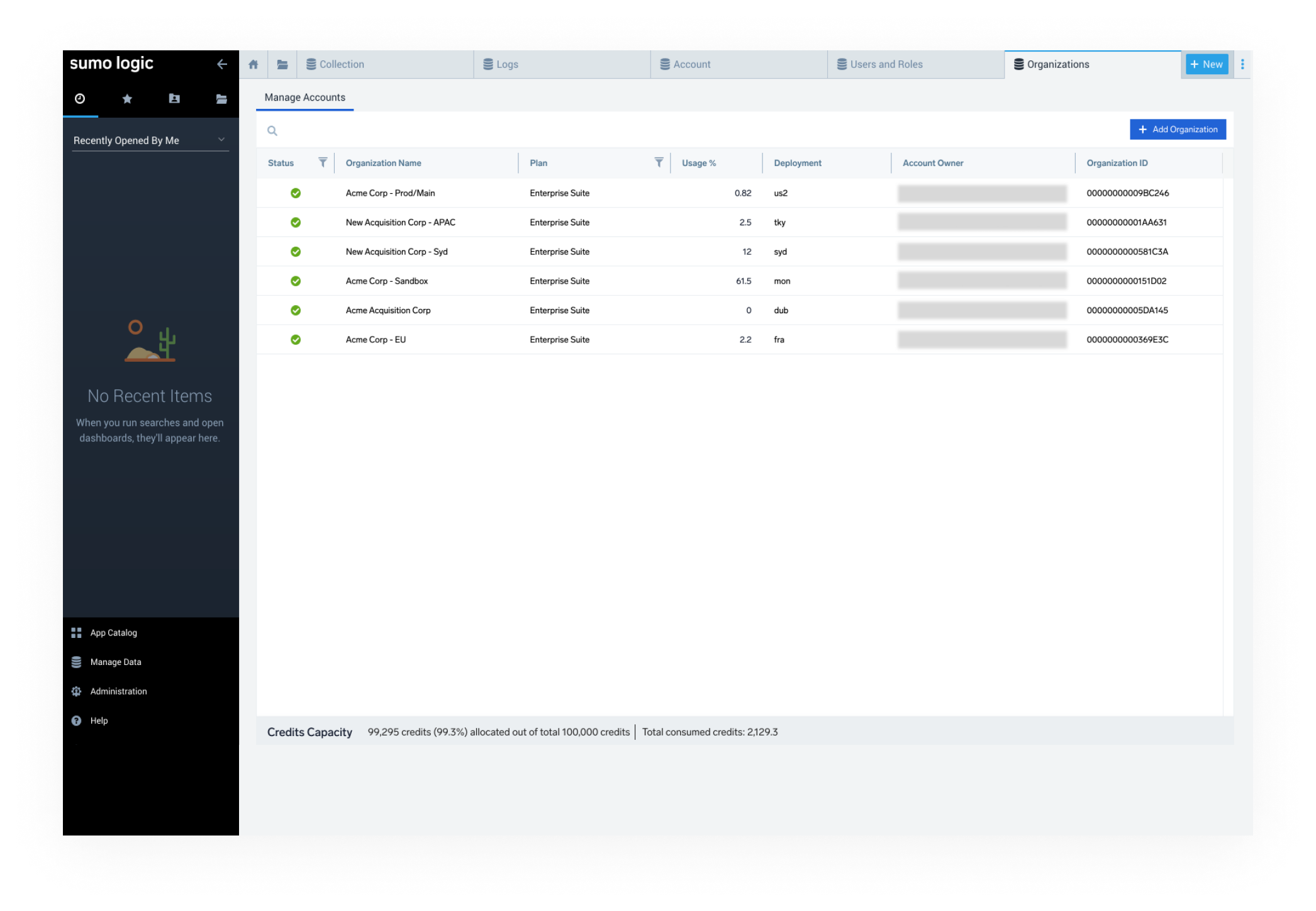 Manage multiple Sumo Logic accounts with Sumo Organizations